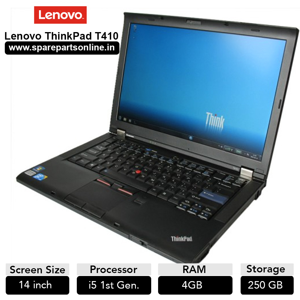 Lenovo Thinkpad T410 Used Laptop with 14 inch Screen Core i5 (First Gen)  4GB RAM 250GB HDD