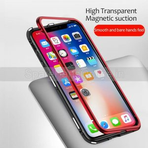 iphone-XS-XR-XSmax-magnetic-metal-case-cover-with-tempered-glass-protectors